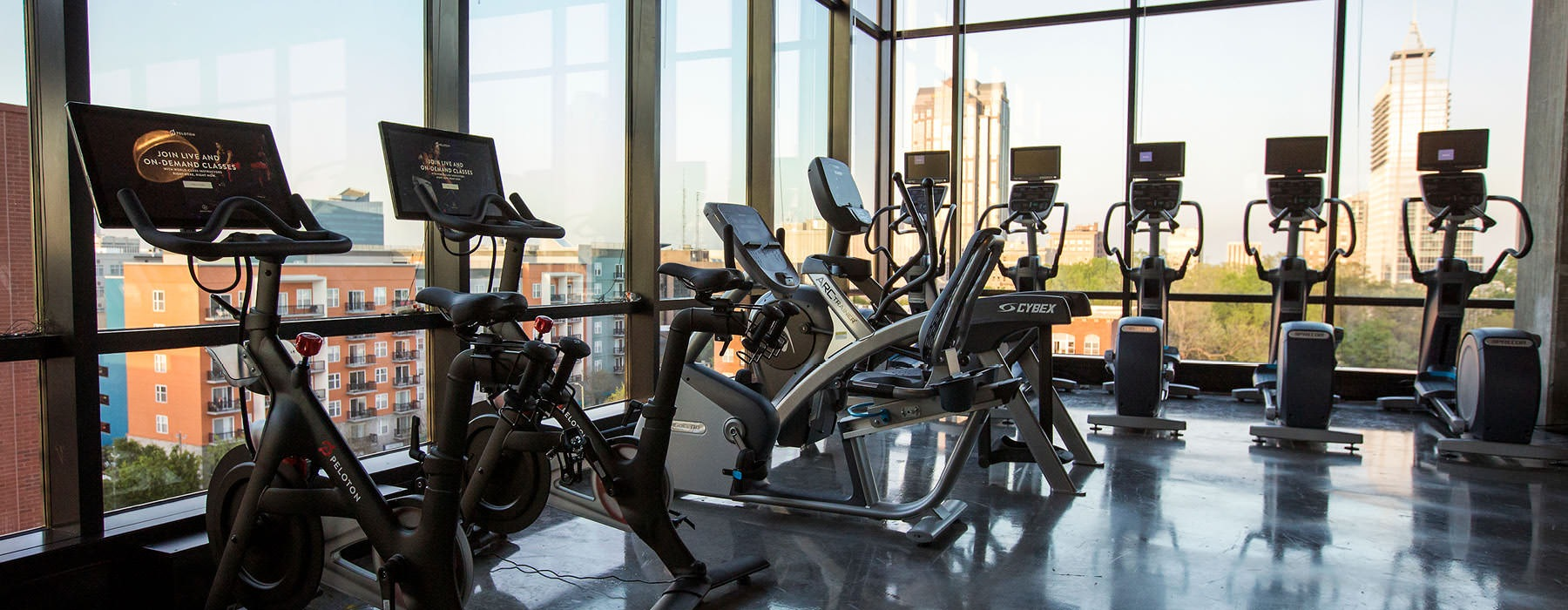 cardio equipment in fitness center with city views