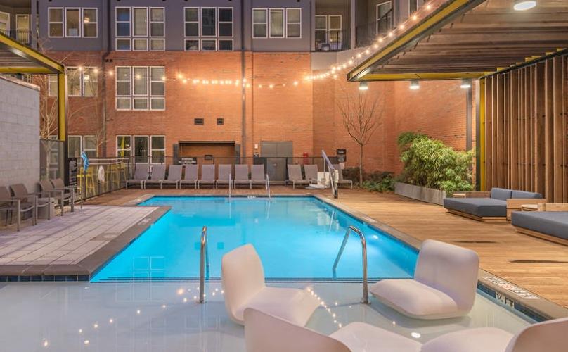 swimming pool lit at night