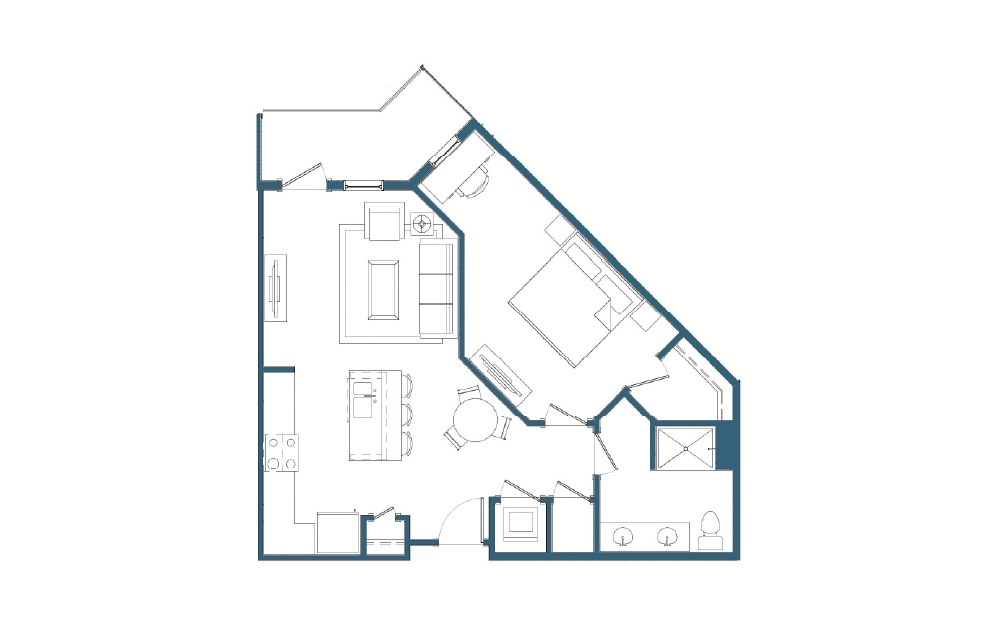 Boothbay - 1 bedroom floorplan layout with 1 bath and 720 square feet.