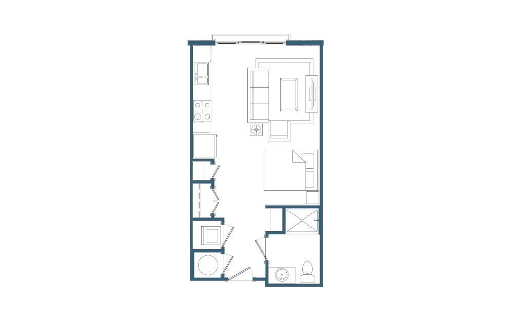 Conway II - Studio floorplan layout with 1 bath and 469 square feet.