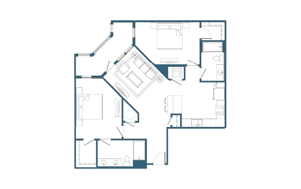 Great Smoky - 2 bedroom floorplan layout with 2 baths and 1126 square feet.