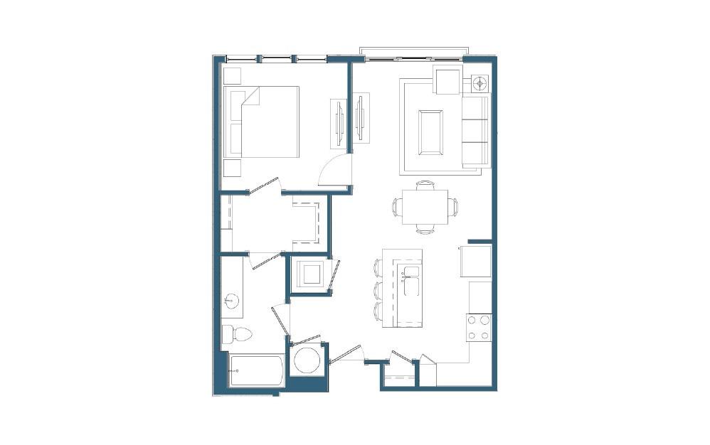 Strasburg - 1 bedroom floorplan layout with 1 bath and 738 square feet.