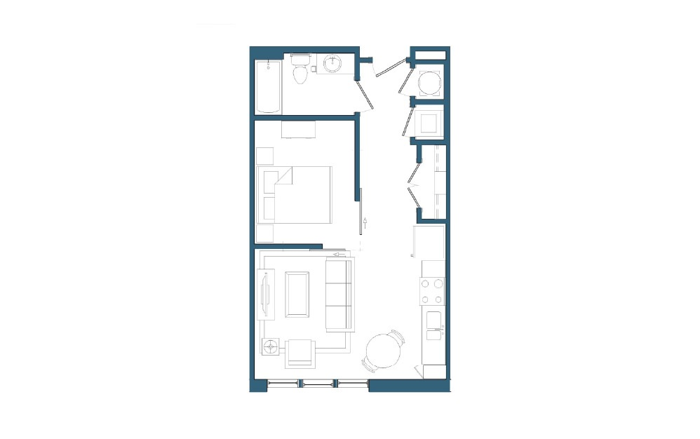 Tioga II - 1 bedroom floorplan layout with 1 bath and 522 square feet.