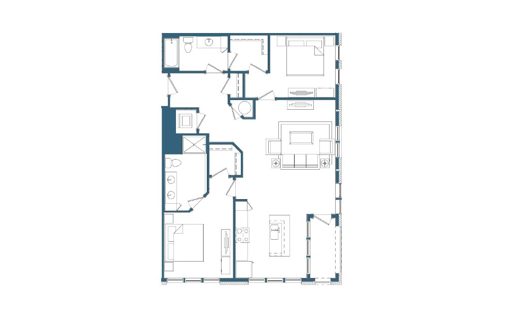 Union Pacific - 2 bedroom floorplan layout with 2 baths and 1179 square feet.